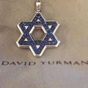 David Yurman Star of David Blue Sapphire Pendant